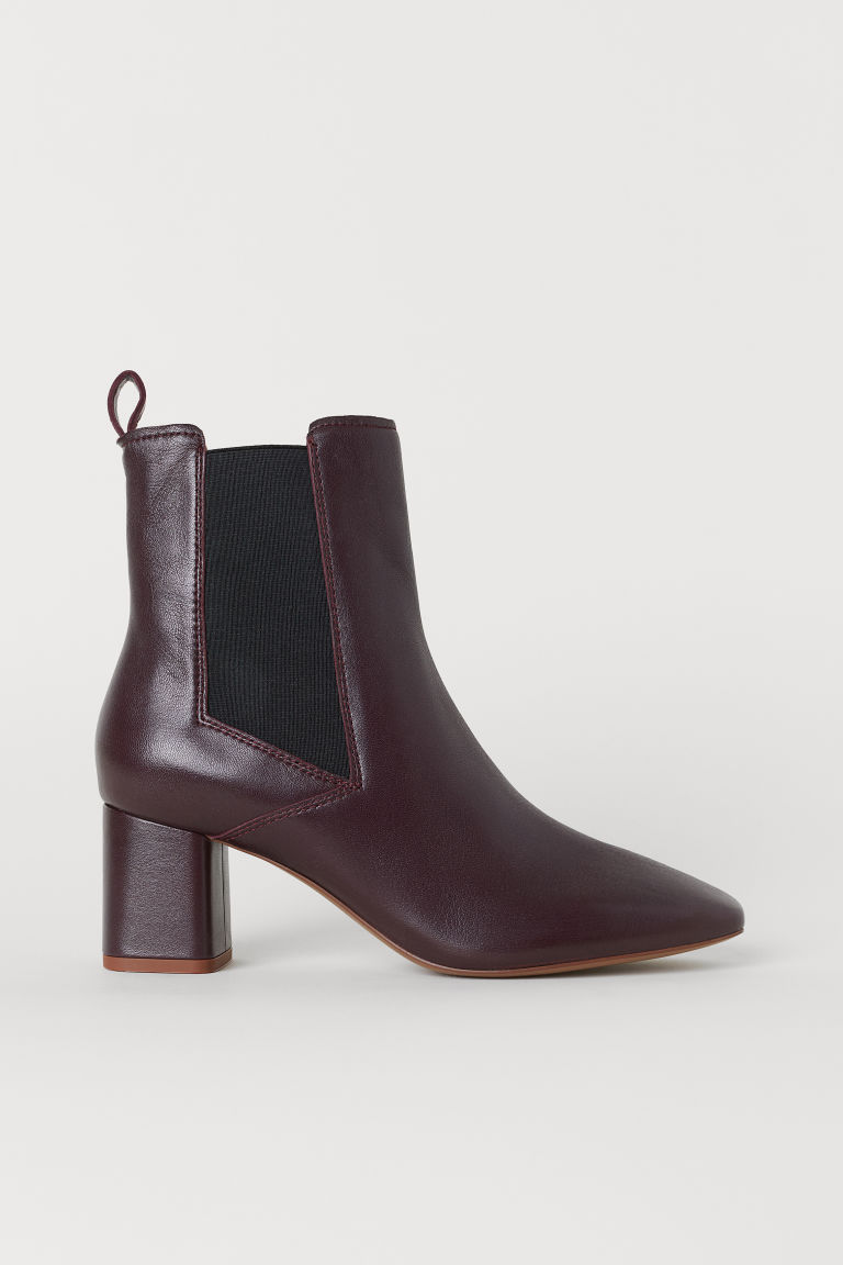 Leather ankle boots - Dark red - Ladies | H&M CN
