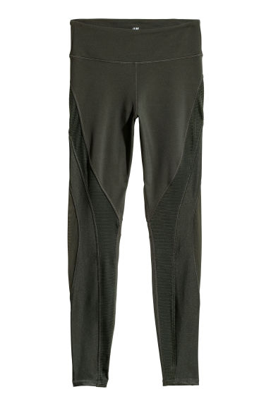 Sports tights - Dark khaki green - Ladies | H&M