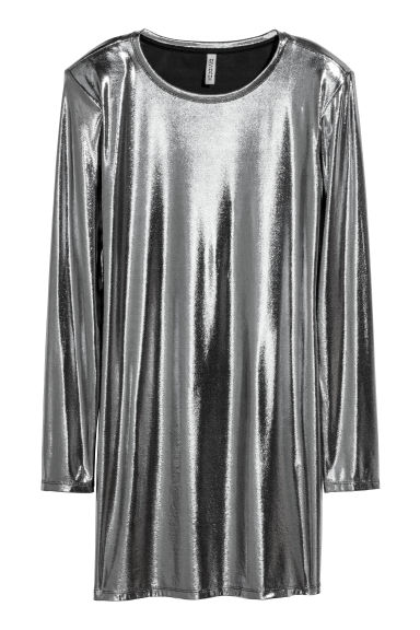 Shimmering metallic dress - Silver-coloured - Ladies | H&M GB