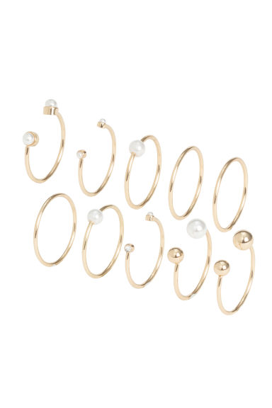 10-pack rings - Gold-coloured -  | H&M IE