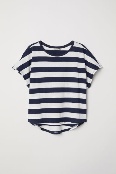 Modal-blend top - Dark blue/White striped - Kids | H&M