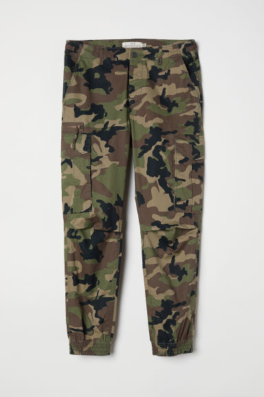Cargo trousers - Khaki green/Patterned - Men | H&M CN