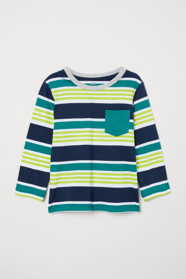 Maglia in jersey - Dark blue/Green striped - BAMBINO | H&M IT