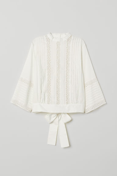 Cotton blouse with lace - White - Ladies | H&M