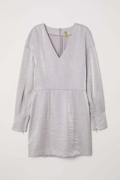 Shimmering metallic dress - Silver-coloured -  | H&M