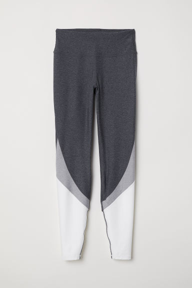 Sports tights - Grey marl/Block-coloured - Ladies | H&M