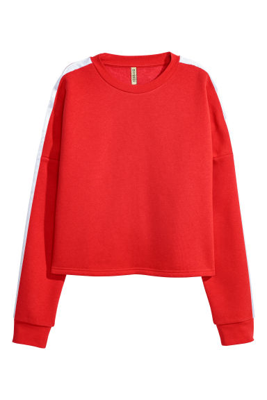 Sweatshirt with press-studs - Bright red - Ladies | H&M