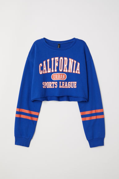 Cropped sweatshirt - Bright blue/California - Ladies | H&M GB