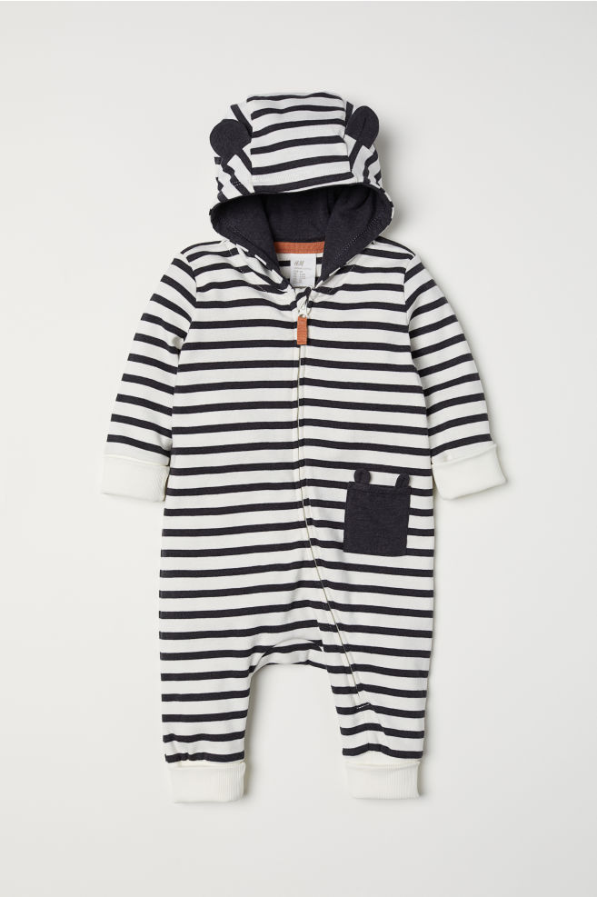 bf14fecf7319 Hooded Jersey Jumpsuit - Natural white striped - Kids