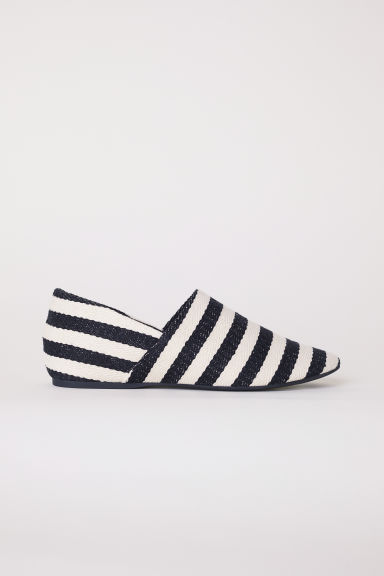 Wedge-heeled mules - Black/White striped - Ladies | H&M CN