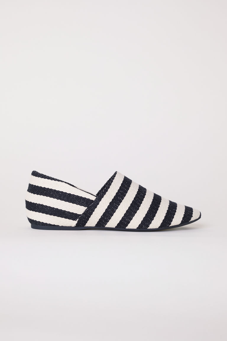 Wedge-heeled mules - Black/White striped - Ladies | H&M