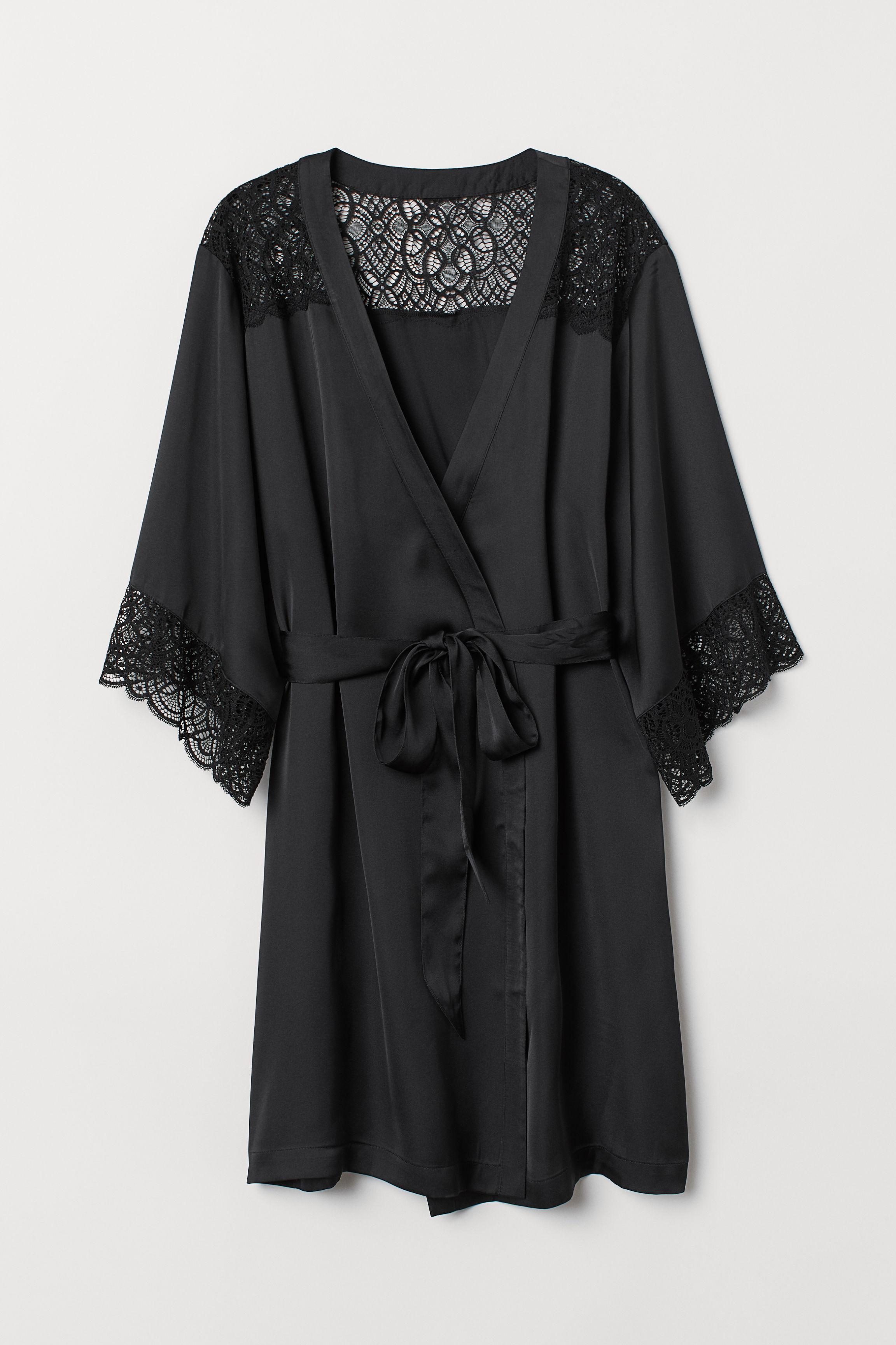 92c59ac47 Satin Kimono - Black - Ladies | H&M US