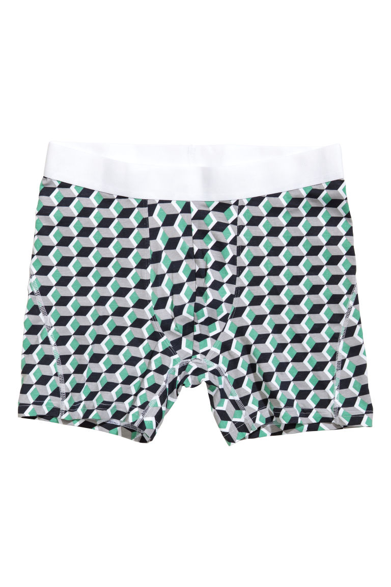 3-pack mid trunks - Black/Patterned - Men | H&M IE