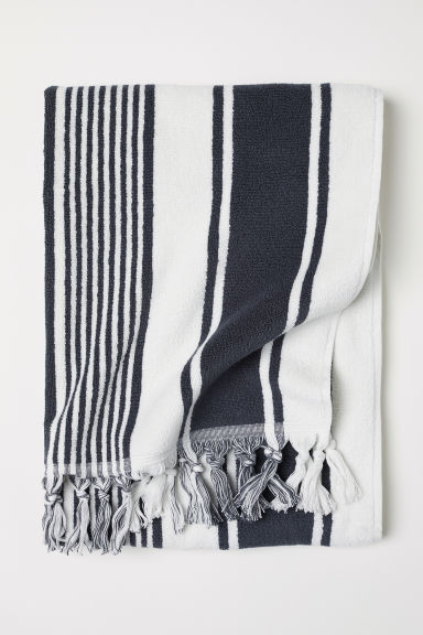 Striped bath towel - Dark grey/White striped - Home All | H&M CN