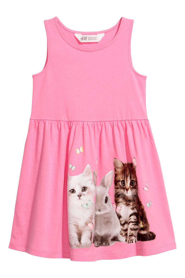 Sleeveless jersey dress - Pink/Cats - Kids | H&M