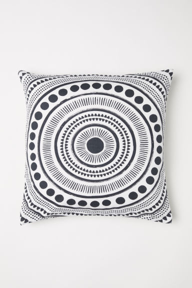 Patterned cushion cover - White/Dark grey patterned - Home All | H&M GB