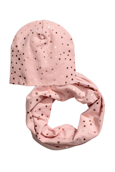 Hat and tube scarf - Light pink -  | H&M CN