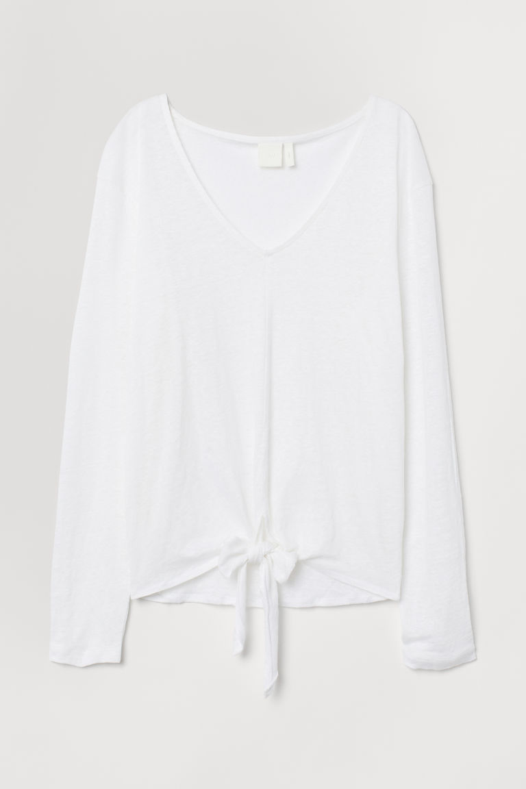 Tie-detail linen top - White - Ladies | H&M IN