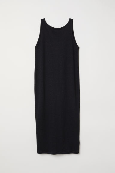 Linen-blend dress - Black - Ladies | H&M CN