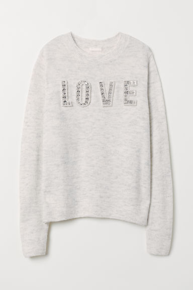 Knitted jumper with a motif - Light grey marl/Love - Ladies | H&M GB