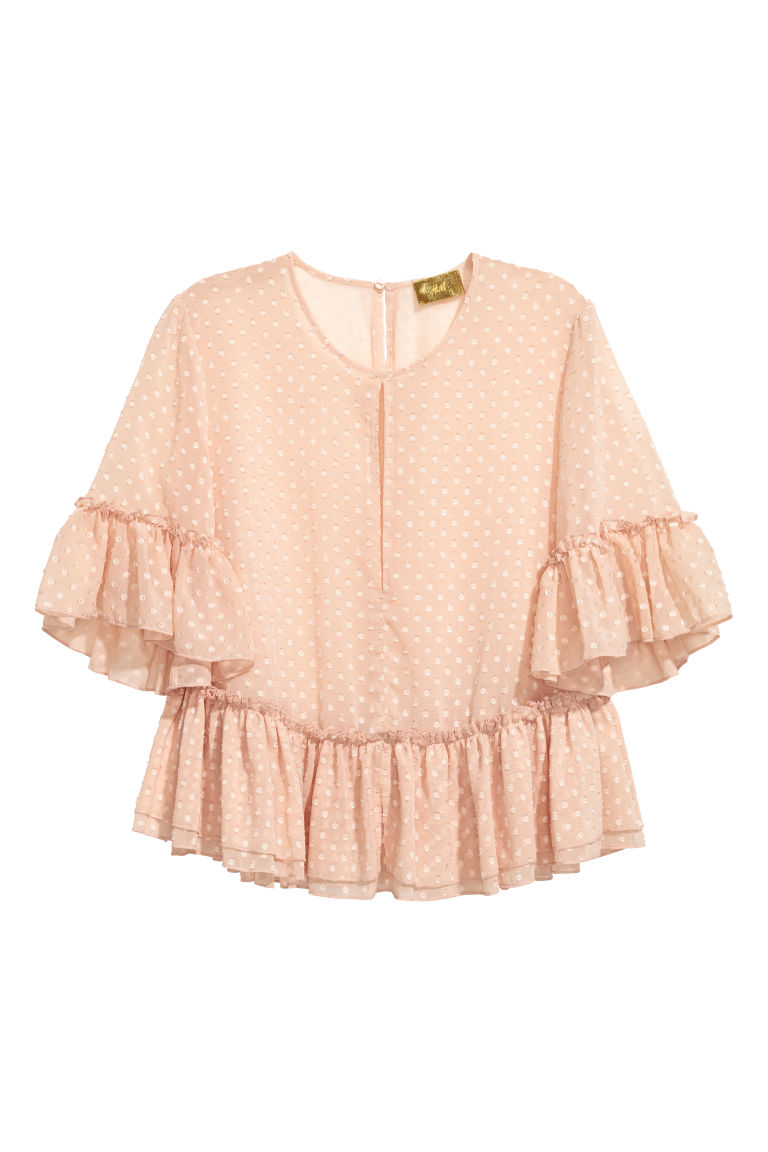 Flounced blouse - Powder beige - Ladies | H&M CN