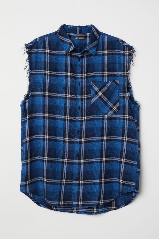 05803c2e0c7e Sleeveless Flannel Shirt - Dark blue/plaid - Men | H&M ...