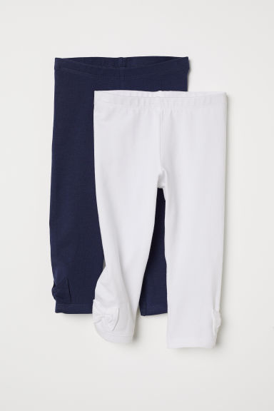 2-pack leggings with a bow - White/Dark blue - Kids | H&M CN