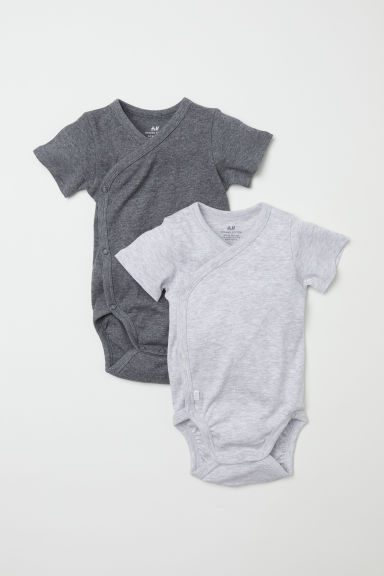 2-pack short-sleeved bodysuits - Grey marl - Kids | H&M CN