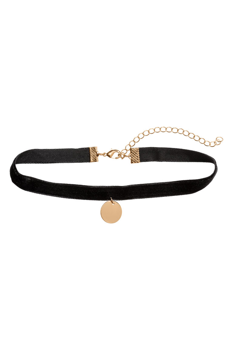 Choker with a pendant - Black/Gold-coloured - Ladies | H&M