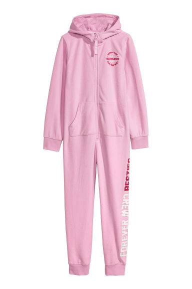 Fleece all-in-one suit - Pink - Kids | H&M CN