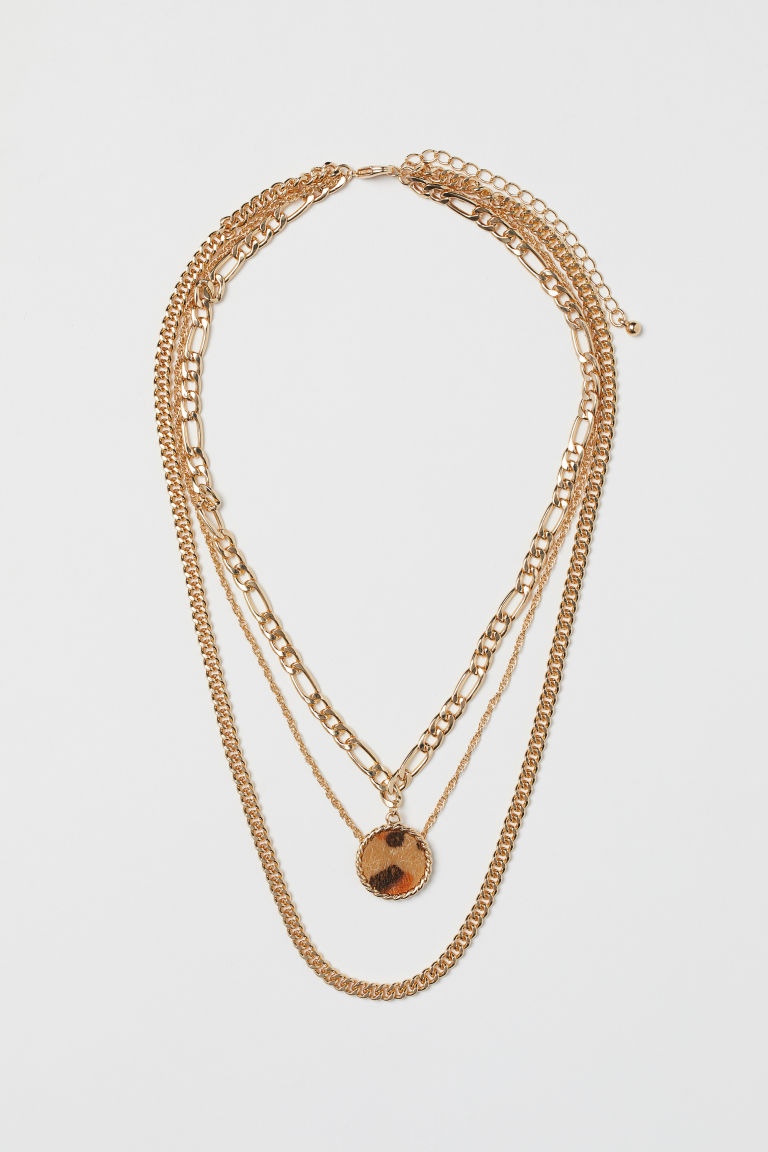 Three-strand necklace - Gold-coloured/Leopard print - Ladies | H&M GB