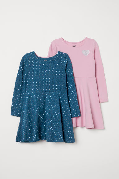 2-pack jersey dresses - Dark turquoise/Spotted - Kids | H&M