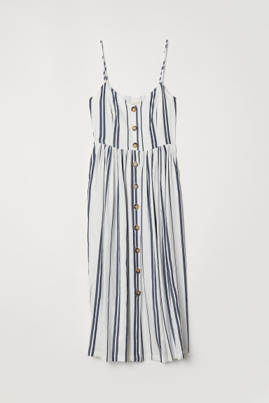 Dress with buttons - White/Dark blue striped - Ladies | H&M CN