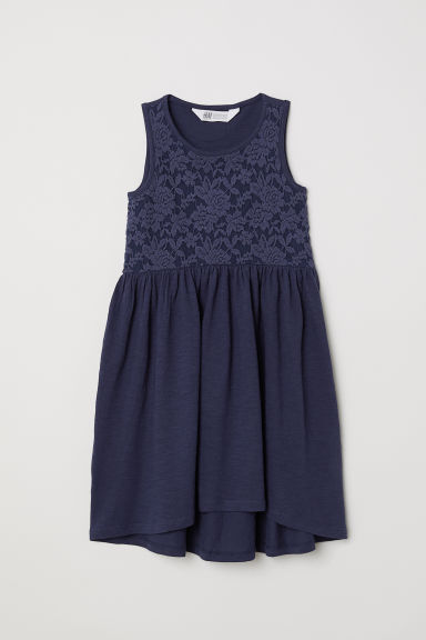 Jersey dress with lace - Dark blue -  | H&M