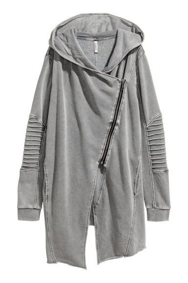 Hooded sweatshirt cardigan - Grey washed out - Ladies | H&M CN
