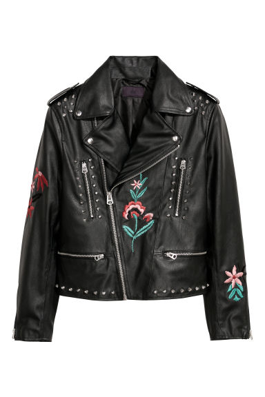 Embroidered biker jacket - Black -  | H&M