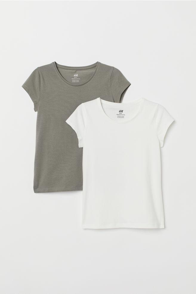 0b15d102950 ... 2-pack T-shirts - White Khaki green - Kids