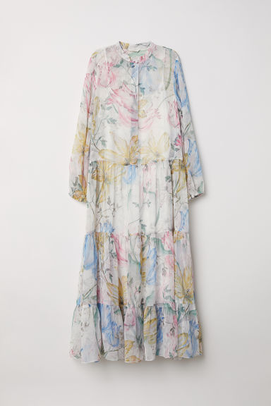 Patterned chiffon dress - White/Floral - Ladies | H&M CN