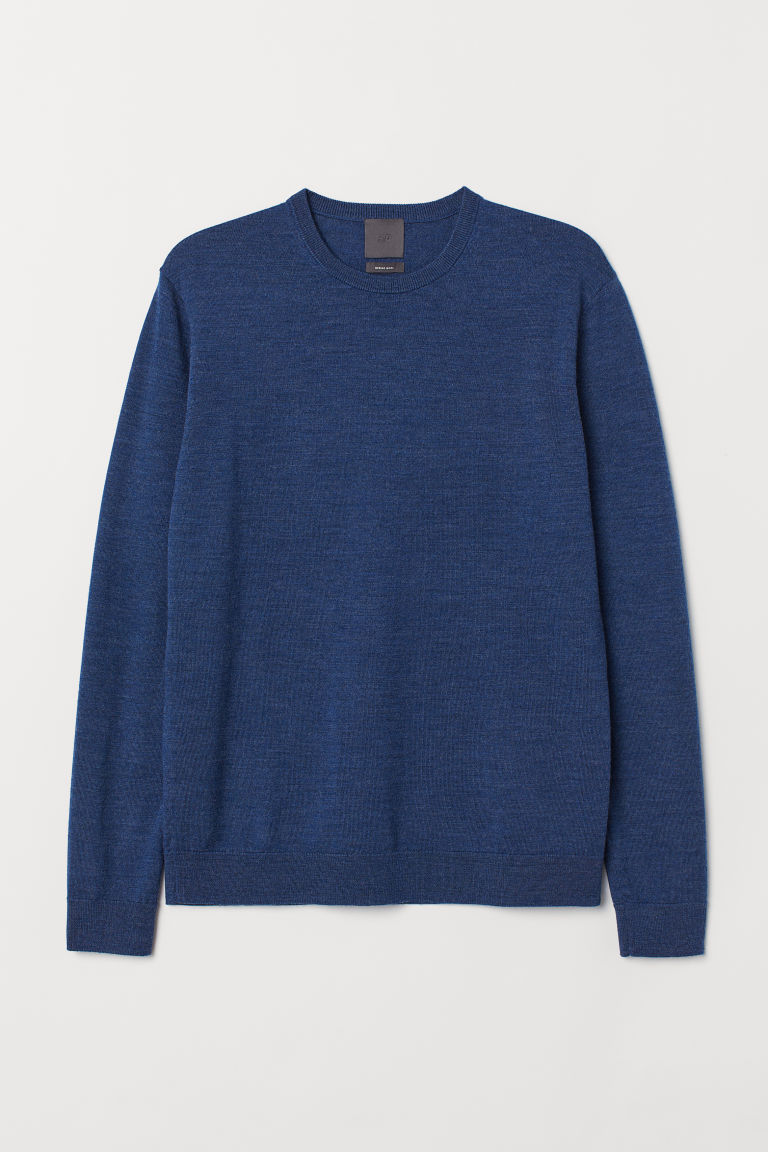 Merino wool jumper - Blue marl - Men | H&M CN