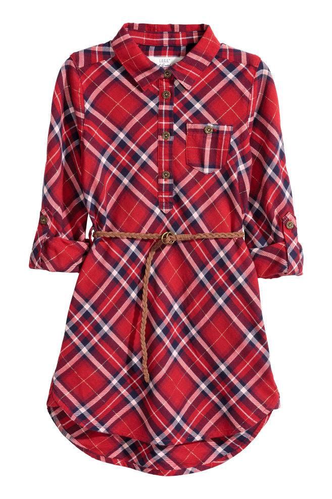 476c8cbc313e Košeľové šaty - červená trblietavá - DETI