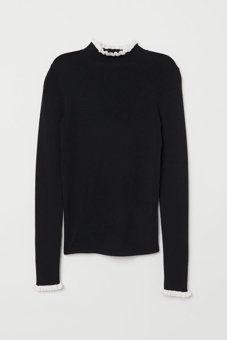 Jumper with a stand-up collar - Black - Ladies | H&M