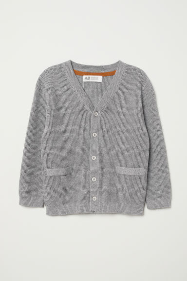 Knitted cotton cardigan - Grey marl - Kids | H&M CN
