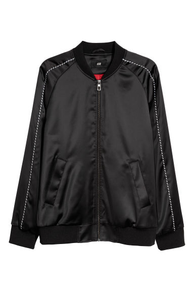 Bomber jacket with a motif - Black/Dog - Men | H&M CN
