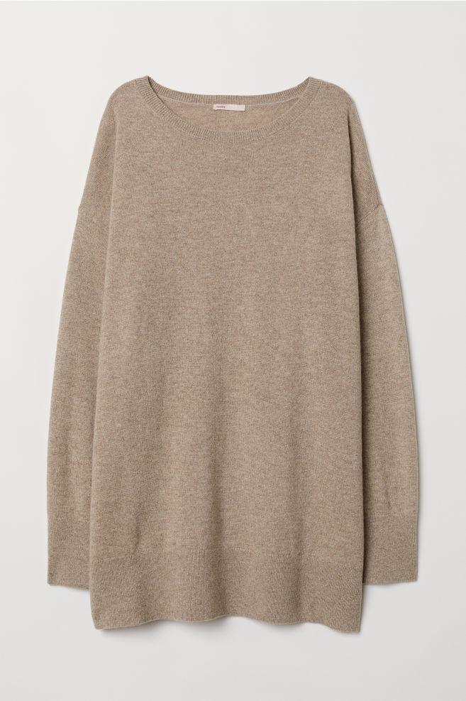 Oversized kašmírový svetr - Béžový melír - ŽENY  82abeec357