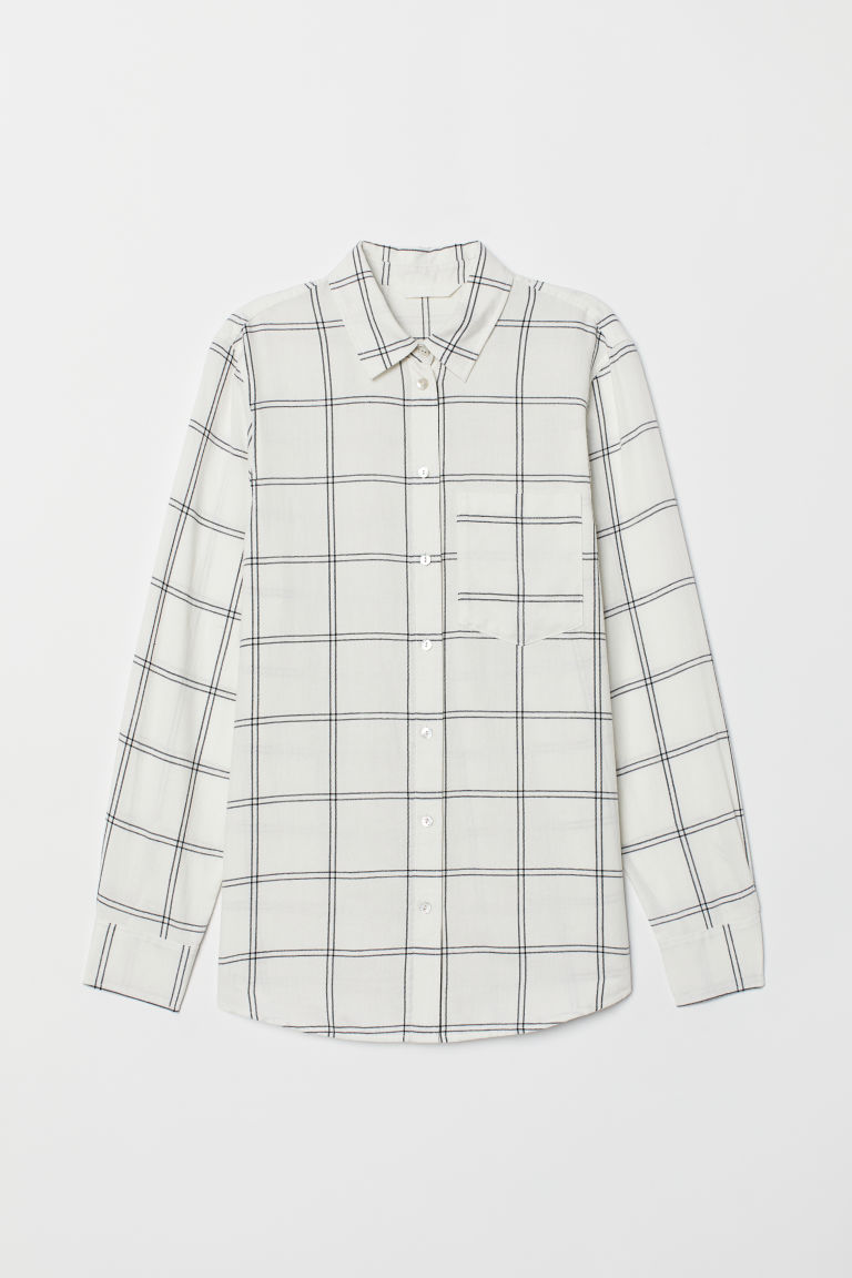 Checked shirt - White/Checked - Ladies | H&M CN
