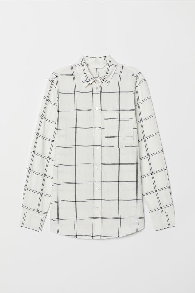 e5e75f66 Checked shirt - White/Checked - Ladies | H&M ...