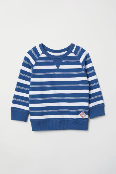 Cotton piqué top - Blue/Striped - Kids | H&M CN