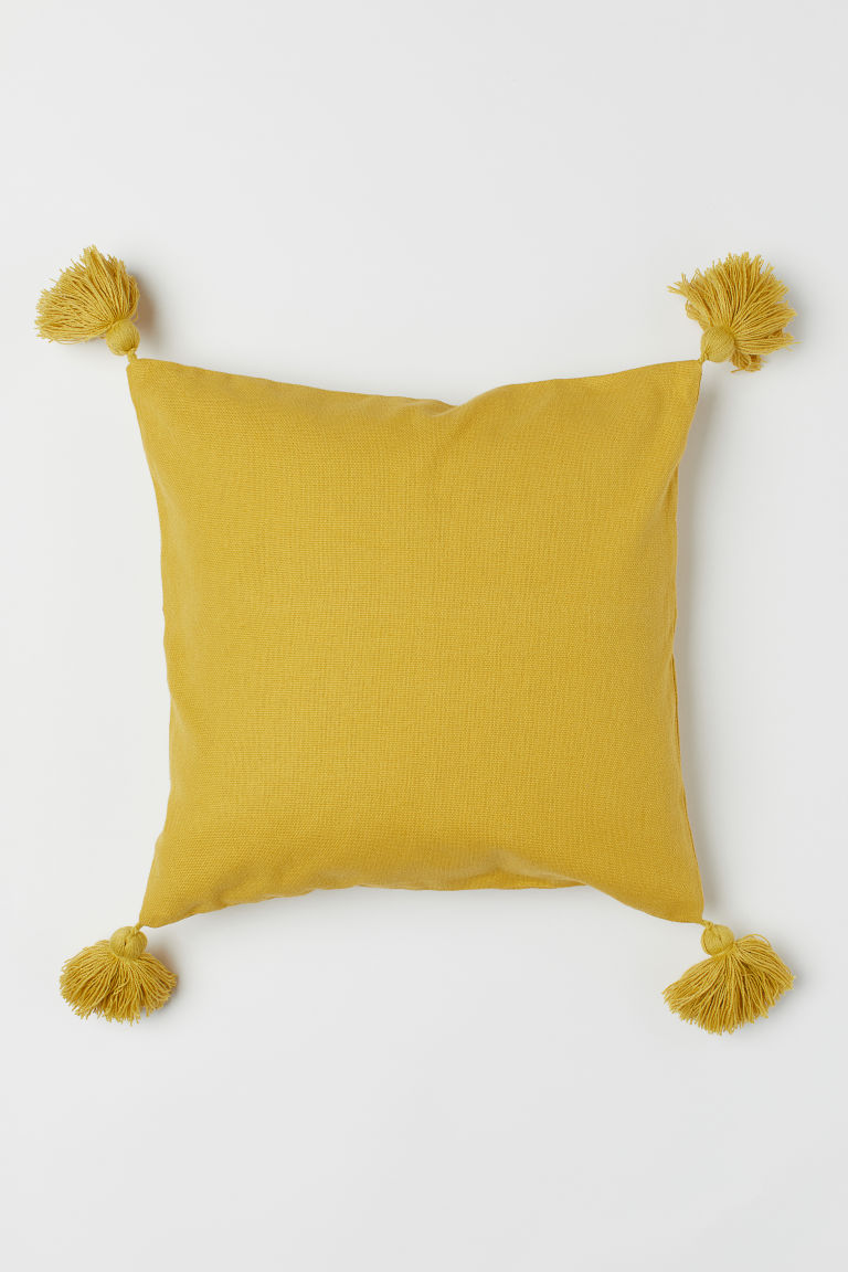 Tasselled cushion cover - Yellow - Home All | H&M CN