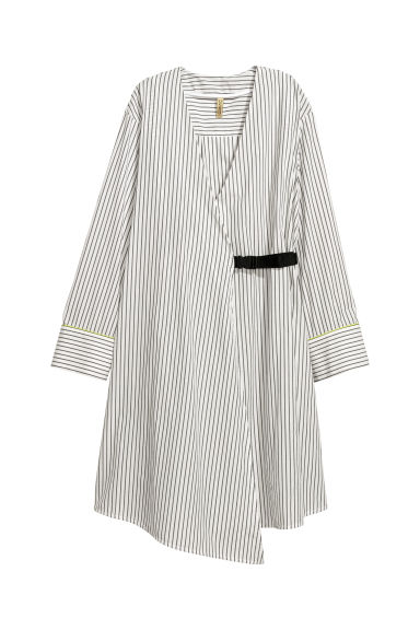 Striped wrap dress - White/Striped - Ladies | H&M CN