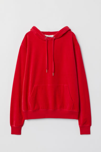 Sweat à capuche en velours - Rouge -  | H&M FR